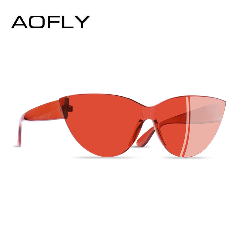 AOFLY BRAND DESIGN 2019 Fashion Cat Eye Women Sunglasses Transparent Candy Color Travel Sun glasses Female Goggles AF2560