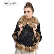 Lady Genuine Rabbit Fur Coat Jacket Winter Women Raccoon Fur Outerwear Coats Female Overcoat