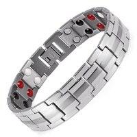Healing FIR Magnetic Circet Bracelet For Men Women 316L Stainless Steel Bracelets& Bangles Steel Color Fashion Jewelry Wide 15mm