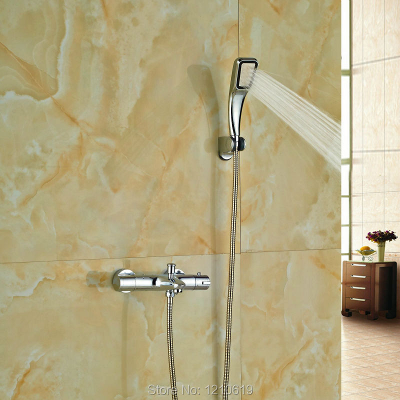 ФОТО Newly Simple Thermostatic Shower Set Wall Mount Chrome Plate Shower Tub Mixer Faucet w/ Hand Shower