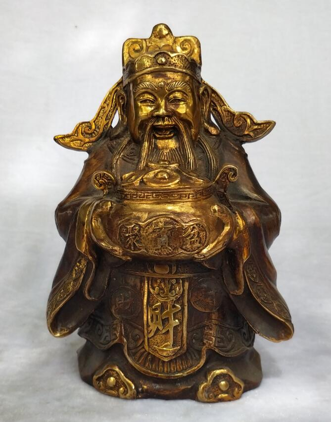 Antique collection chinese old bronze God of Wealth sculpture home feng shui art decoration Metal craft  Antique collection chinese old bronze God of Wealth sculpture home feng shui art decoration Metal craft