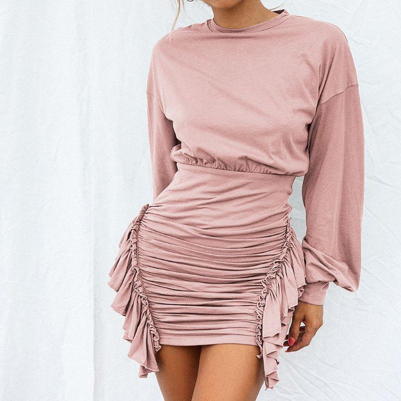 us $10 34 20% off women ladies sexy bodycon dress mini o neck long batwing sleeve frill wrap short party club dress women in dresses from women's  bekleidung damen sweatshirt c 1_18 #13