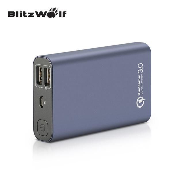 Blitzwolf bw-p3 original universal 9000 mah 18 w qc3.0 rápida telefone carregador porta 3.0 dual usb power bank bateria externa