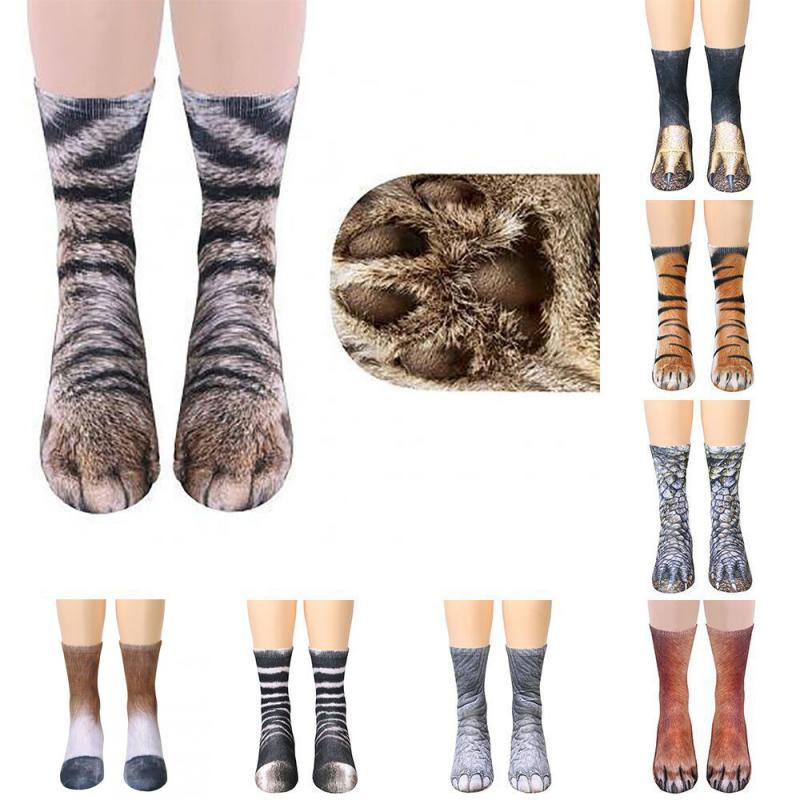 Animal Claw Hoof Socks 3D Printed Cotton Unisex Adult Kid Paw Socks Dog Tiger Cat Animal Pattern Women Men Stylish Sock