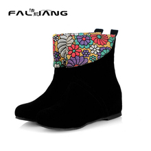 2016 Fashion Round Toe Platform Casual Dress flower Shoes Autumn Boots Hidden Wedges Heels Spring Shoes Ankle Boots