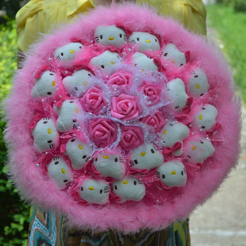 Pink Fashion Creative Cartoon Cute Bouquet Pink Hello Kitty Plush     Pink Fashion Creative Cartoon Cute Bouquet Pink Hello Kitty Plush Toys  Simulation Flower Bouquet Bride Holding Flower D28 in Artificial   Dried  Flowers from