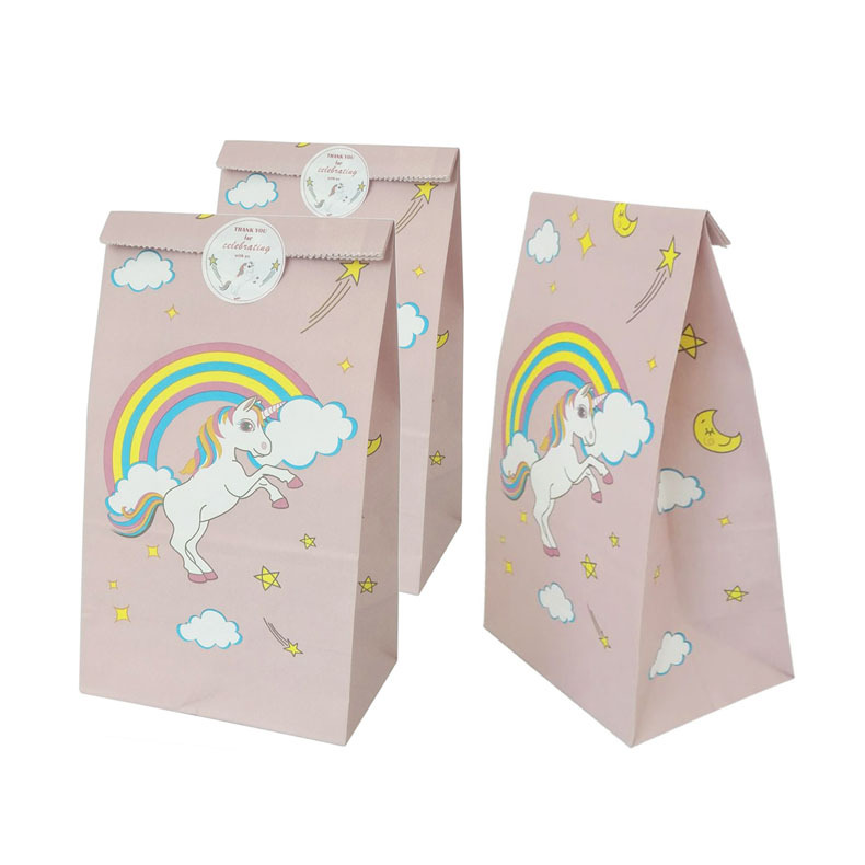 10pcs Unicorn Paper Gift Bag Birthday Party Decorations Kids Candy Treat Food Packaging Bags Pastry Cake Box Baby Shower Supply