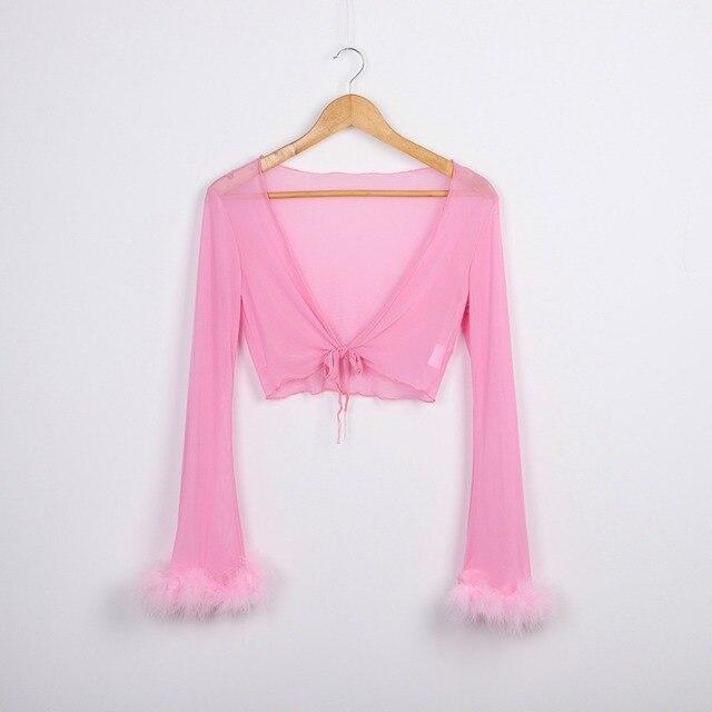 Tumblr Sexy voir à travers rose maille survêtements automne femmes Costume deux pièces ensemble manches longues moelleux Crop pantalons et haut Streetwear 5