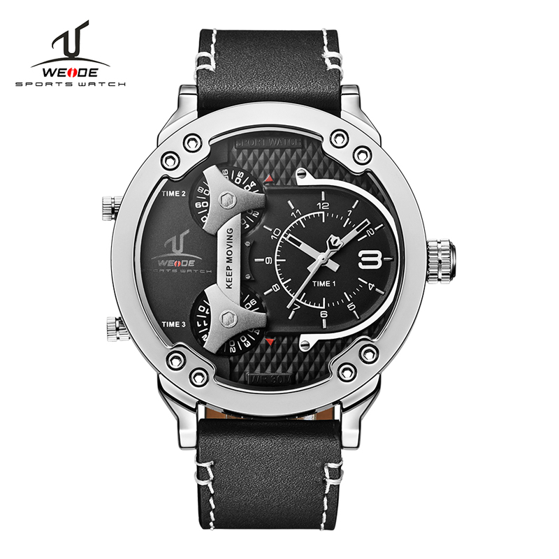 WEIDE Top Luxury Brand Men Fashion Sport Watches Men's Quartz Analog Male Clock Man Wrist Watch Big Dial Relogio Masculino olevs big dial watches men moon phase men watches top brand luxury quartz watch man leather sport wrist watch clock relogio saat