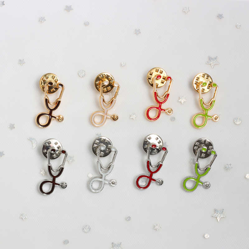 Creativos 18 estilos broches coloridos Doctor estetoscopio para enfermera pines esmaltados médicos Denim Chaquetas bolsa joyas botón insignias regalos