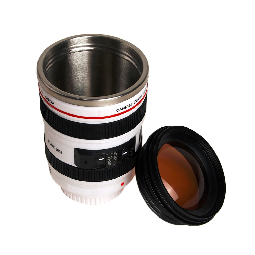 Hot OUTAD 24-105mm Camera Lens Shape Cups Coffee Mug Tea Travel Mug Stainless Steel Vacuum Flasks Camera Lens Cups And Mugs