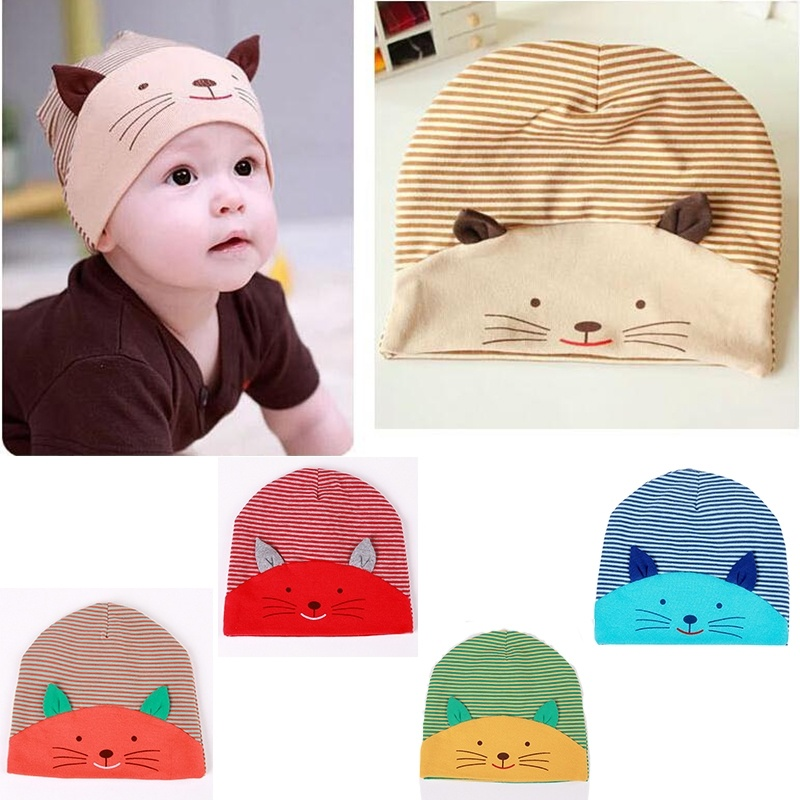 108a57c9 1 pcs Newest All Season Winter Warm Cotton Baby Beanie Skull Cap Cute Cat  Face Hat Hot Sale gorro infantil