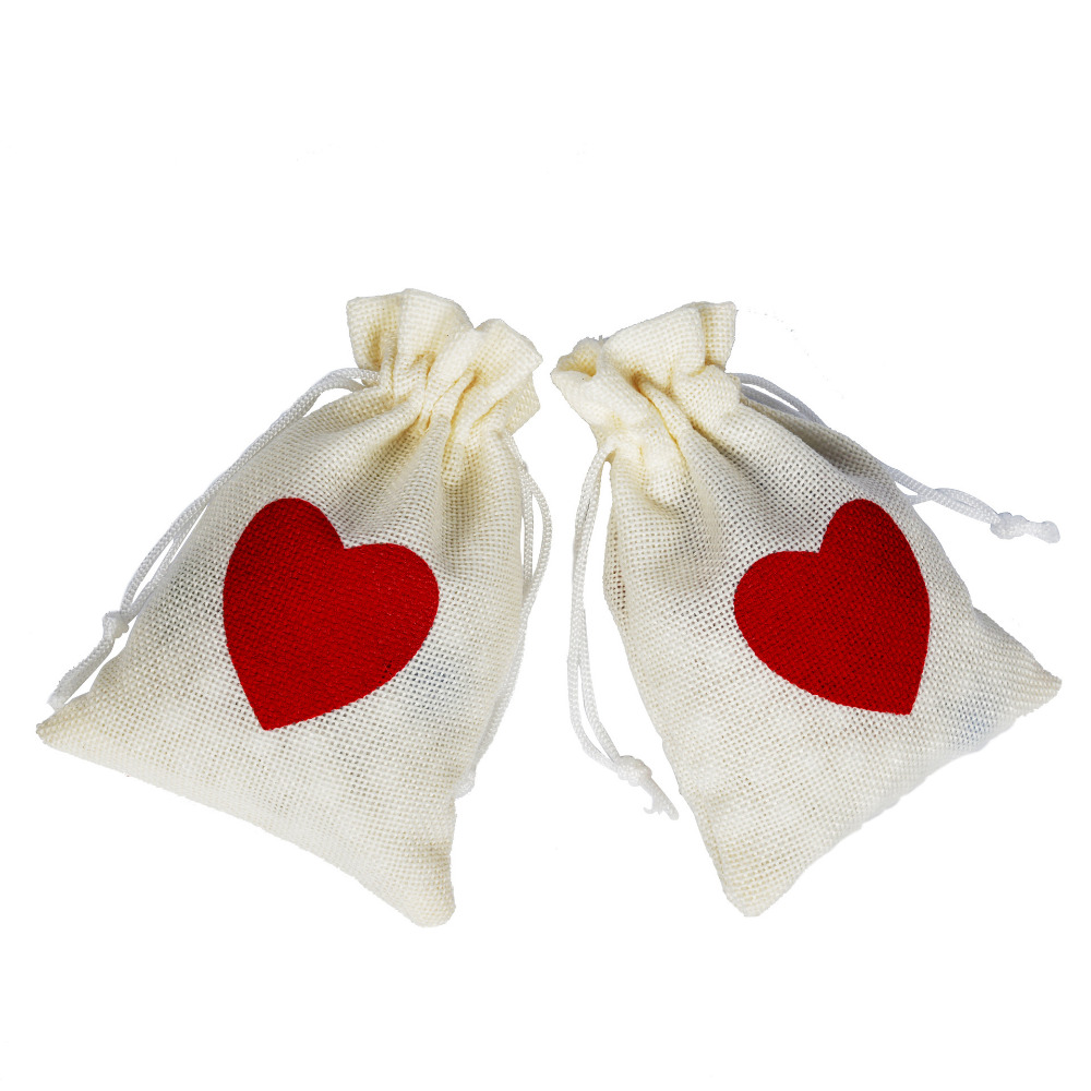 50Pcs 10x15cm Linen Drawstring Pouch Bag Heart Printed Jute Pouch Christmas/Wedding Bags BB379