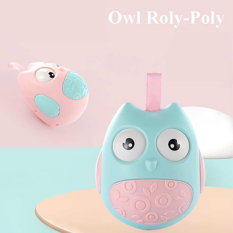 Cute Owl Roly Poly Educational Toys Baby Toys Newborn Tumbler Rattle Car Seat Baby Stroller Crib Roly-poly Toys for Kids Baby