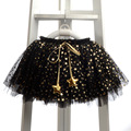 Retail 2016 Sequin stars Skirt Girls Sparkle Silver Tutu Skirts Baby Toddler Long Tulle Skirt Princess Dance Wear Pettiskirt
