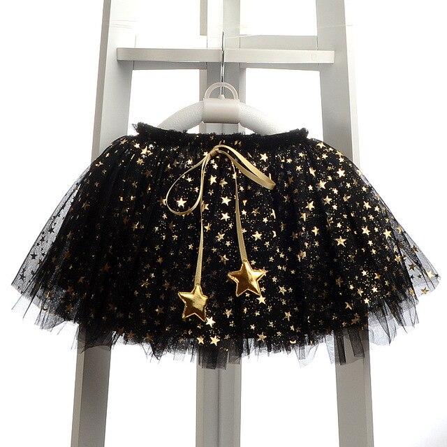 Retail 2016 Sequin Stars Skirt Girls Sparkle Silver Tutu Skirts Baby Toddler Long Tulle Princess