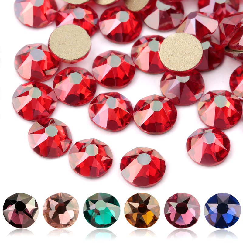 QIAO New Color Plating Series Delicate AB Color Non Hotfix Rhinestones SS16 SS20 8 big 8 Small Crystal Glass Rhinestone Gem