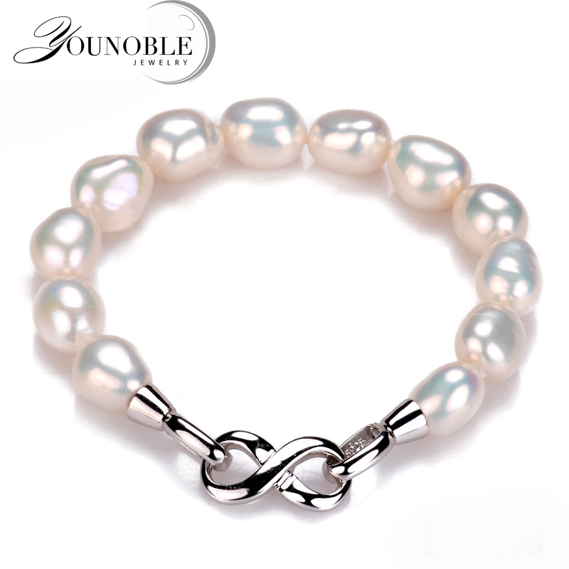 You Noble 10-11mm Charm Bracelet Fine Natural Freshwater Big Pearl 925 Sterling Silver Pearl Bracelet Women Gift White(China)