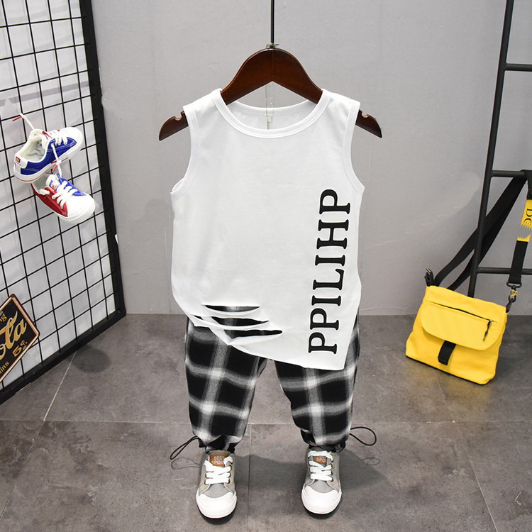 Summer Cute Letter 2PCS Kids Baby Boys Vest Top Pants Set Clothes Children Fashion Clothing Sets 2-6years 3