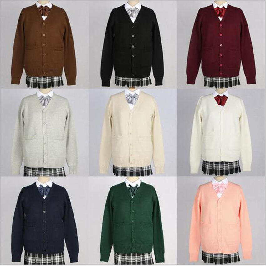 LoveLive JK Uniform Japanese School Sweater Coat Knitwear Black all-match Daily Clothes Cosplay Costumes