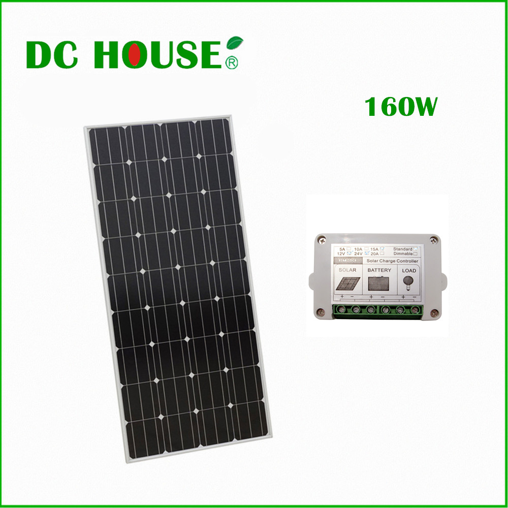 160W 12V Mono Solar Panel Pv Solar Module for 12v Battery Charger Home System RV Boat Solar Generators 300w solar system complete kit 3pcs 100w photovoltaic pv solar panel system solar module for rv boat car home solar system