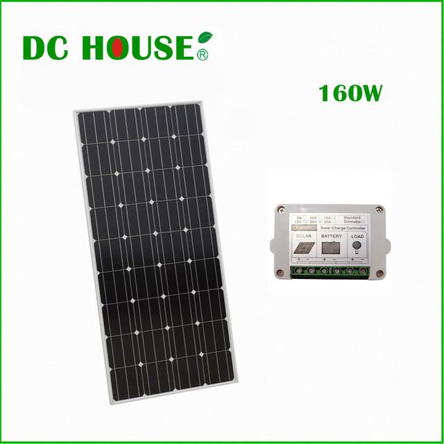 160W 12V Mono Solar Panel Pv Solar Module for 12v Battery Charger Home System RV Boat Solar Generators