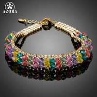AZORA Gold Plated Colorful Stellux Australian Crystal Beads Charm Bracelets TS0157