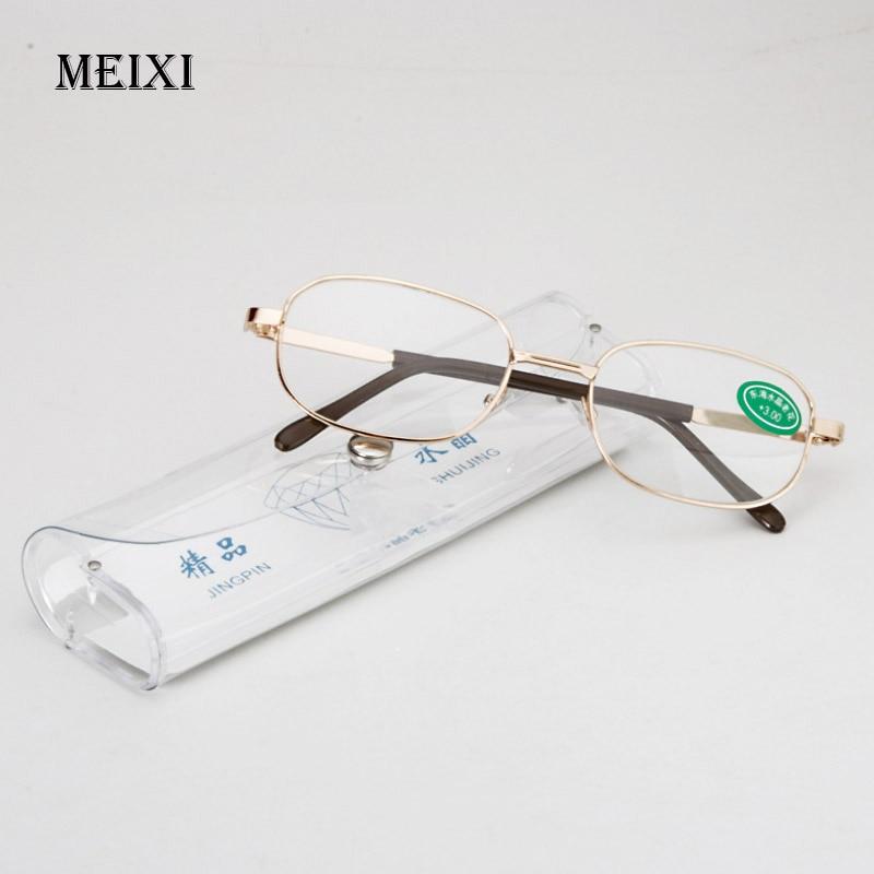 Full Metal Frame Glass Lenses Female Male Reading Glasses Women Men Unisex Eyewear +1.0 1.5 2 2.5 3 3.5 4 4.5 5 5.5 6