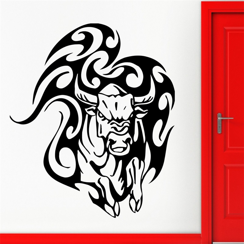 Bull Stiker Dinding Hewan Adu Banteng Tato Suku Vinyl Decal Di Wall