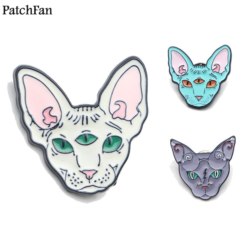 Arts,crafts & Sewing Apparel Sewing & Fabric 20pcs/lot Patchfan Sphynx Cat Animal Zinc Tie Cartoon Funny Pins Backpack Clothes Brooches For Men Women Hat Badges Medal A1365