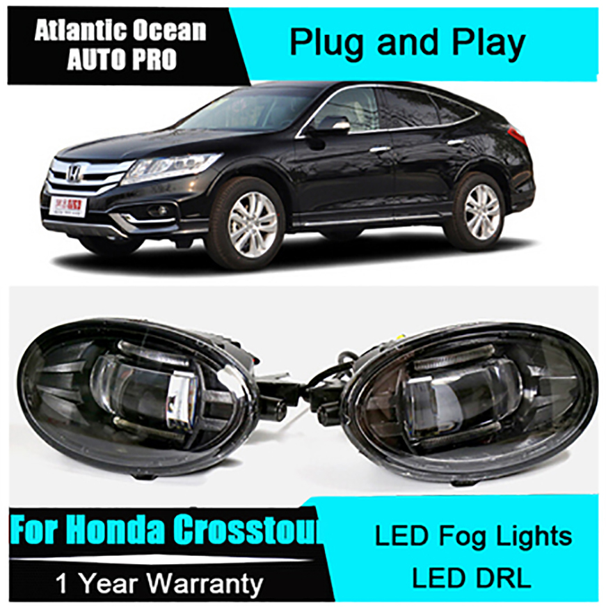 Auto Pro Car Styling LED fog lamps For Honda Crosstour led DRL len For Accord Crosstour LED fog lights led daytime running light for honda crosstour 2013 2014 h11 wiring harness sockets wire connector switch 2 fog lights drl front bumper 5d lens led lamp