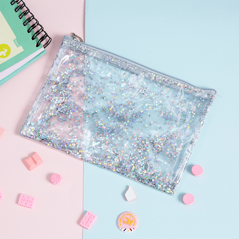 Korean Sequins PVC Transparent Cosmetic Bag Women Envelope Make Up Bags Travel Makeup Toiletry Organizer Case Wash Bags Pouch pvc transparent wash portable organizer case cosmetic makeup zipper bathroom jewelry hanging bag travel home toilet bag