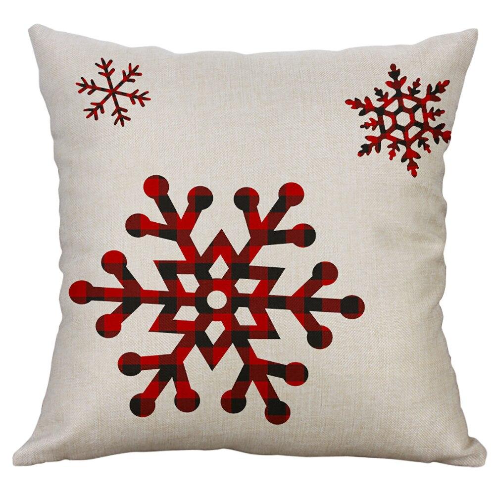 Noël décoration de la maison coussin couvre 40*40 CM Lien mélange taie d'oreiller imprimer bonhomme de neige lettre décorative pour canapé-lit chaise de voiture