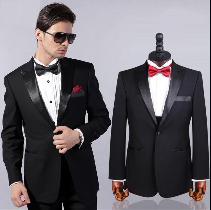 2015 Best Selling Two Buttons Black Suit (Jacket Pants Tie ...