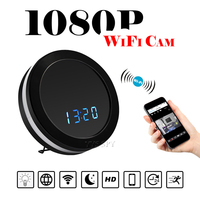 Mini Wifi Camera Wireless Mirror Clock P2P Remote Video Audio Camcorder Night Vision Colorful Lights Motion Recorder Secret Cam