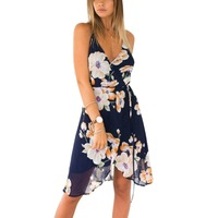 Summer Beach Casual Spaghetti Strap Women Dresses V Neck Lace Female Dresses Flowery Printing Lady Dresses