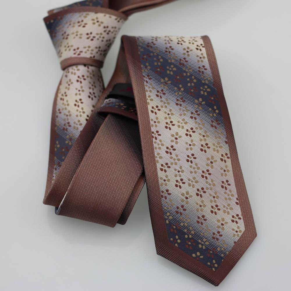 Yibei Coachella Галстуки Точка Цветочные галстук черный Гэри с коричневым граничит узкий галстук из микрофибры Moda Gravatas де Седа Classica