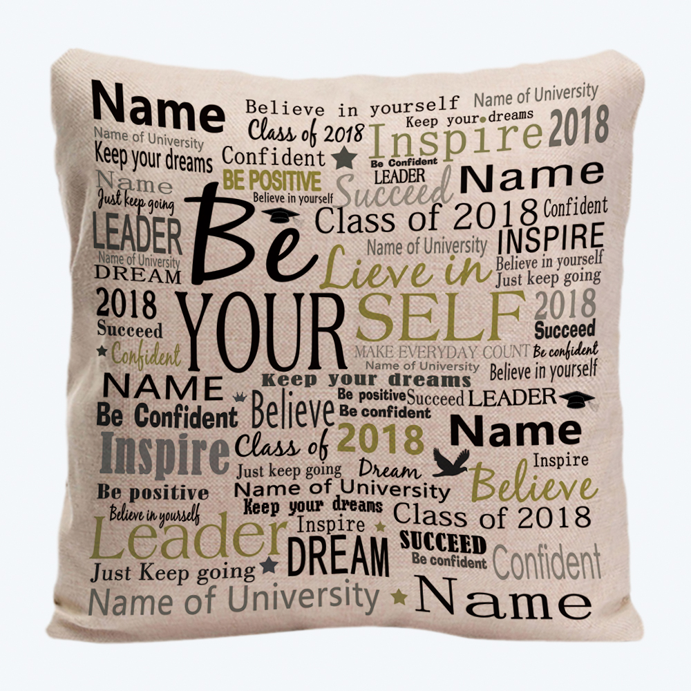 Believe In Yourself Custom Name Year Decorative Throw Cushion Cover Customize Gift Pillowcase By LVSURE For Car Sofa