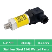 0 30 psi  3 wires sensor pressure 0.5 4.5V  DC 5V power  price cheap transducer  1 4 inch NPT  stainless steel 316L wetted parts