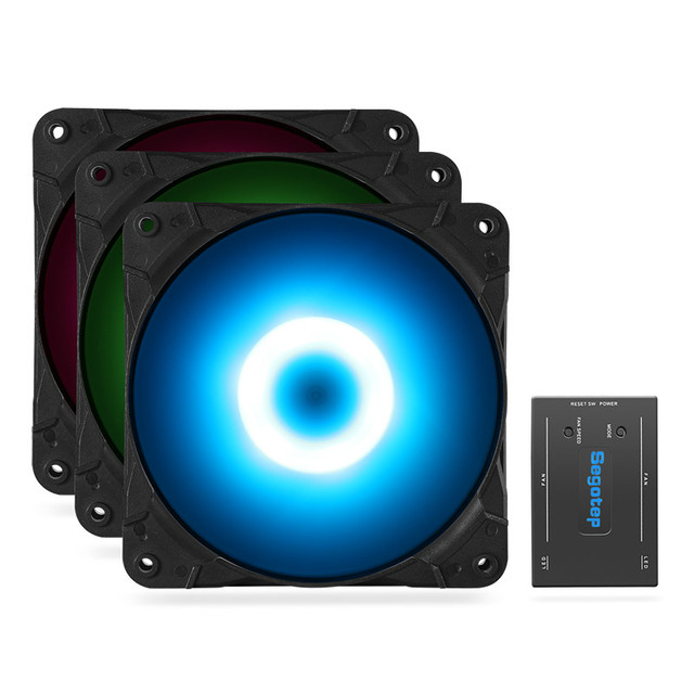 Segotep Moparty RGB Fans Kit 3 Fans Set Computer Case Fan Case Cooler Remote Control Changing Color 3 Mode 42CFM 24.5dB Silent