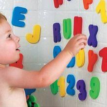 36 шт./компл. с цифрами и буквами, письмо головоломки игрушки для ванной Мягкая EVA Детские Ванная комната Водные Игрушки для раннего развития детей всасывания до игрушка для купания