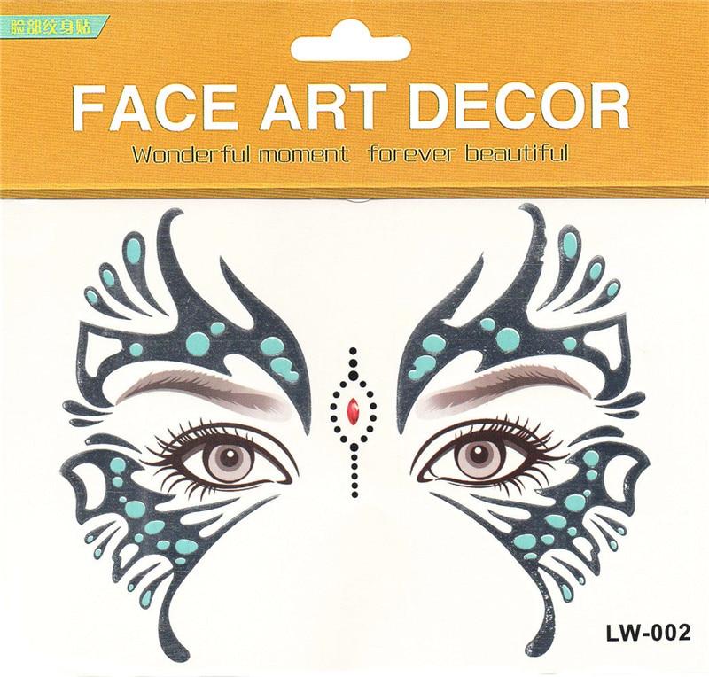 2ks / lot Halloween Butterfly Eye Sticker Legrační obličej samolepky make-up oční samolepky Performing Arts dočasné tetování nálepka