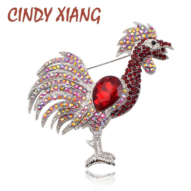 CINDY XIANG Röd färg Rhinestone Cockfighting Broscher för kvinnor Kinesisk kycklingår Broschspinnar Mode smycken Animal Brosch