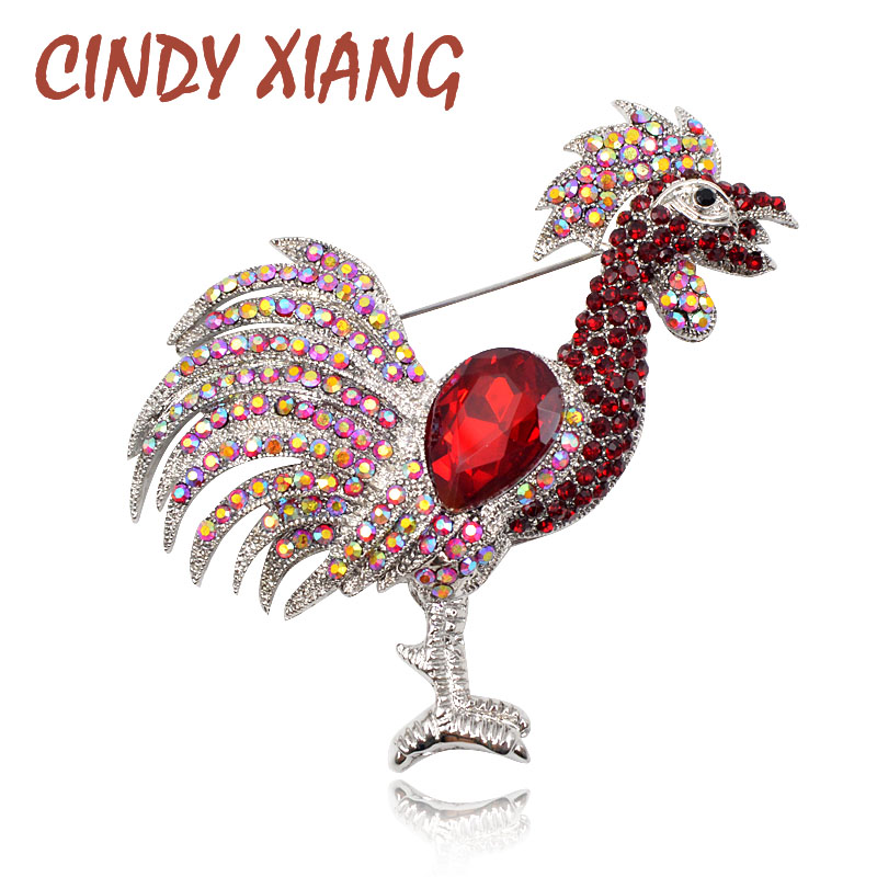 CINDY XIANG Broches de pelea de gallos de diamantes de imitación de color rojo para mujeres Broche de pollo chino Año Broche de joyería de moda