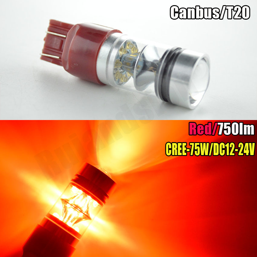 1pc High power 75W 12V 24V canbus Red car 7443 Lights 15SMD T20 W21/5W led auto Lamp 580 brake