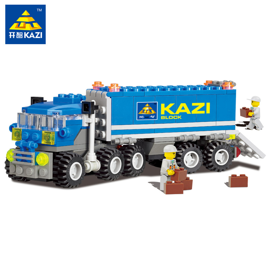 KAZI 163+pcs City Dumper Truck Building Blocks Set Model Compatible Legoe DIY Construction Bricks Play Mobiled Toys For Children kazi 8043 191pcs city series engineering truck model building block educational figure toys for children compatible legoe
