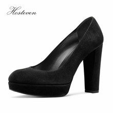 Hosteven 2017 Women's Shoes Spring Summer Solid Pumps Sexy Ladies Super High Thin PU Round Toe Mature Lady Pumps Plus Size 34-46