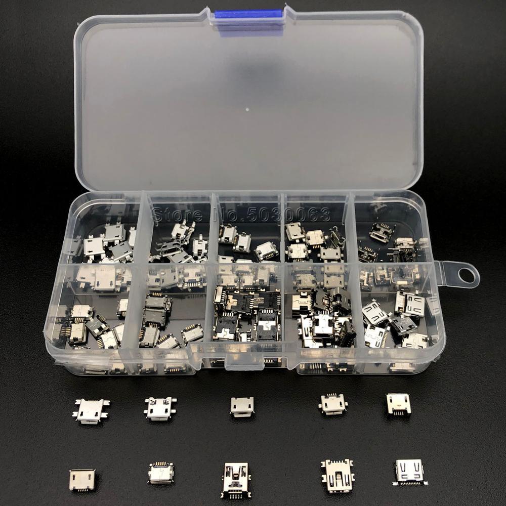 100 шт.-10 моделей микро-USB мини-бокс для Android аксессуары для зарядки разъем Jack MP3/4/5 Lenovo ZTE Huawei