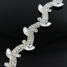 10Yards Sew On Wedding Bridal Clear Crystal Rhinestone Trimming Chain For Costume Garment Decoration 2cm