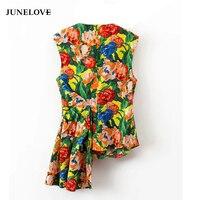JuneLove 2018 Böhmischen asymmetrische bluse frauen shirt casual reißverschluss patchwork bluse weibliche tops blusas